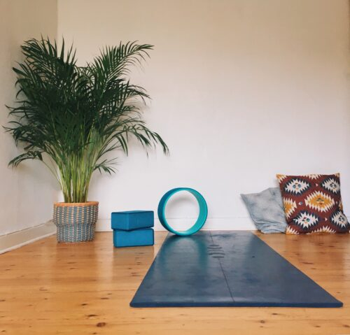The corner of my bedroom I've dedicated to my home yoga practice