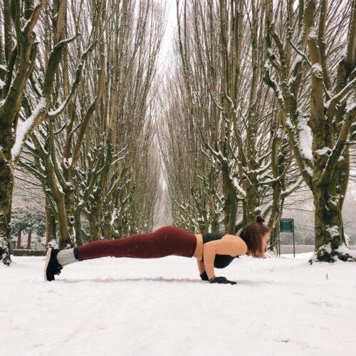 Chaturanga alignment yoga in the snow
