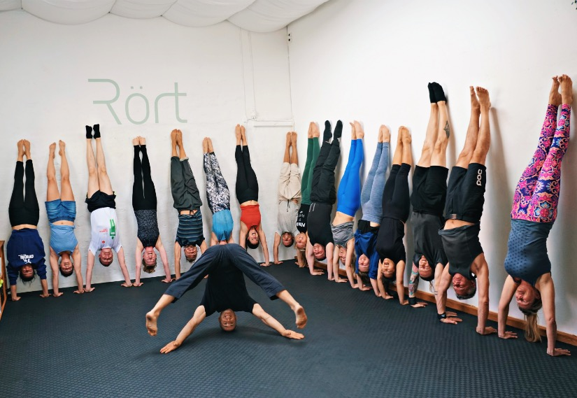 Handstand aka handbalancing group photo after handstand practice with a professional handbalancer