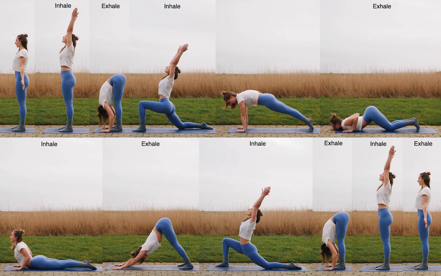 Camilla showing the yoga pose sequence of the classical sun salutation