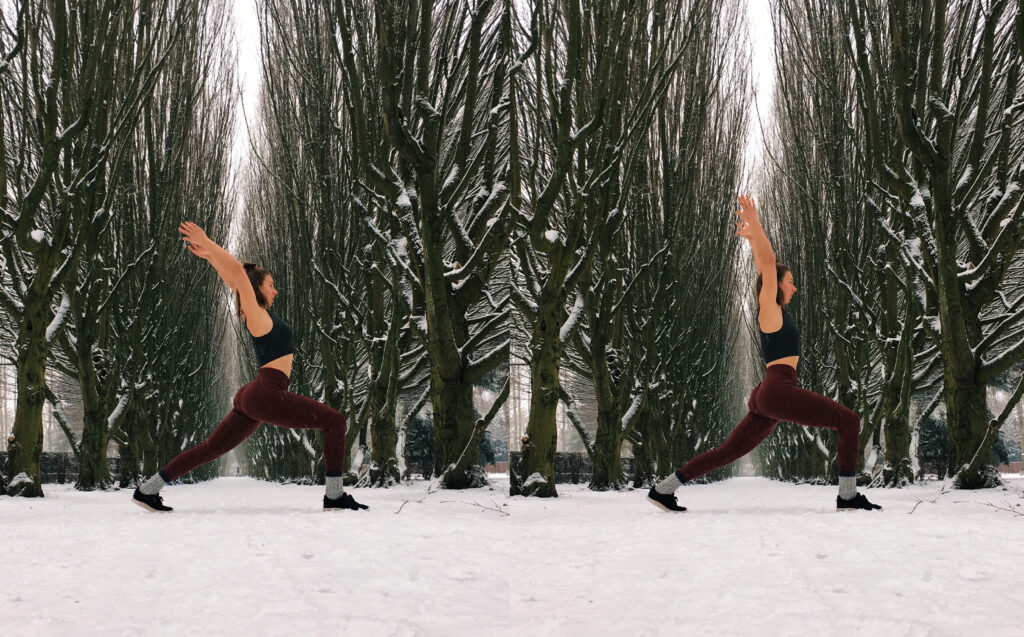 high lunge yoga pose alignment demonstrated by Camilla Mia in the snow