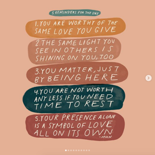 Instagram account to follow for positive habits and self-love and self-compassion