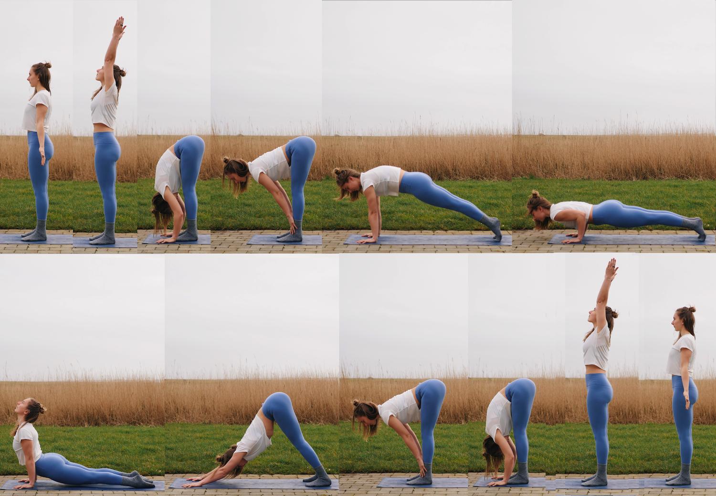 Sun Salutation A or Surya Namaskar A yoga pose sequence