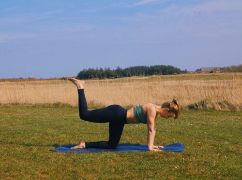 A yoga glute (bum) and back of thigh strengthener