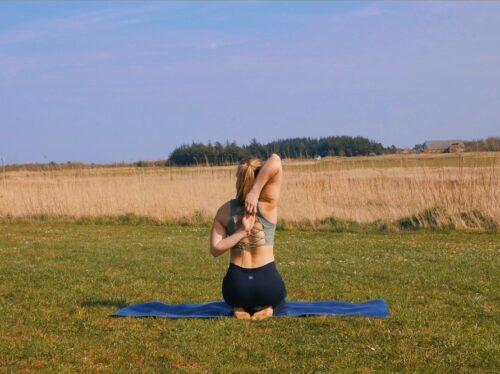 A yoga arm stretch