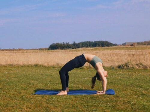 Wheel yoga pose in a field with sunlight