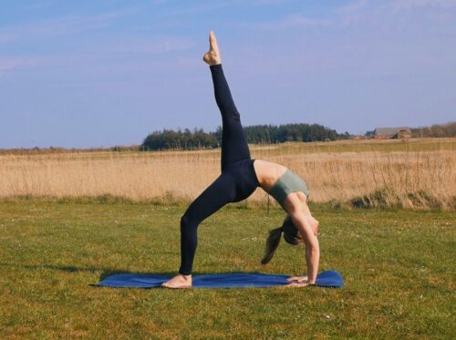 Wheel pose variation from yoga with the leg lifted